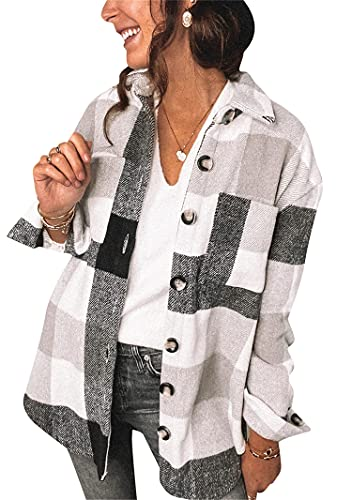 YMING Womens Flannel Plaid Shirts Long Sleeve Casual Button-Down Shirts with Pockets Black XL