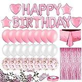 Gobesty Juego de decoración de seda para lluvia, decoración de cumpleaños, incluye pancarta rosa de feliz cumpleaños, globos de confeti, mantel, cortina de fondo, confeti, cortina de flecos + cinta
