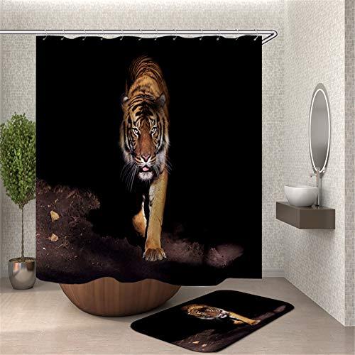 ZZZdz Tiger. Douchegordijn, waterdicht, gemakkelijk te reinigen. 180 x 180 cm. Tapijt Plus velours. 40 x 60 cm. Badkameraccessoires