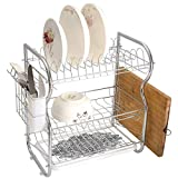 Stainless Steel 3-Tier Dish Drainer Rack Celtic Kitchen Drying Drip Tray Cutlery Holder Circular Macro Ancient Celtic Knot with Twisted Spirals and Lines Classic Cultural Print,Olive Green Tan,Storage