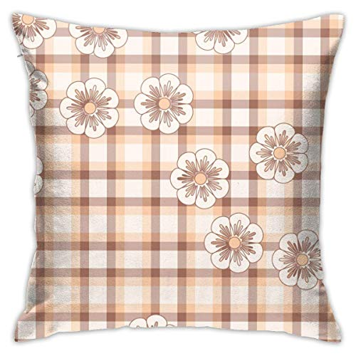 CONAWES Retro Pink and Brown Plaid Decorative Throw Pillow Cover Zippered Cushion Case for Home Sofa Bedroom Car Chair House Party Indoor Outdoor 20x20Inch