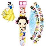 Relojes de Juguete para niños, Relojes electrónicos con Tiempo de visualización y proyección de Dibujos Animados, adecuados para Regalos para niños y niñas, pequeños y Bonitos (Princesa)