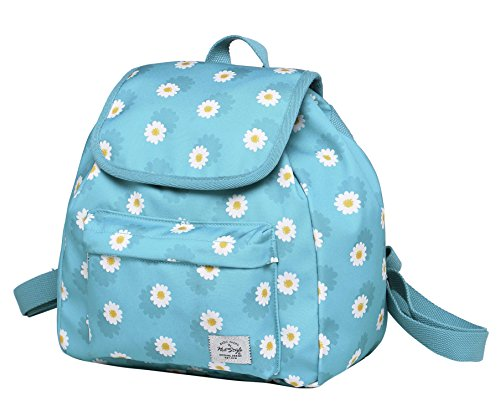 HotStyle MIETTE Mini Backpack Purse for Girls & Women, Cute Small Drawstring Bag with Flap Top, Daisies, Light Blue