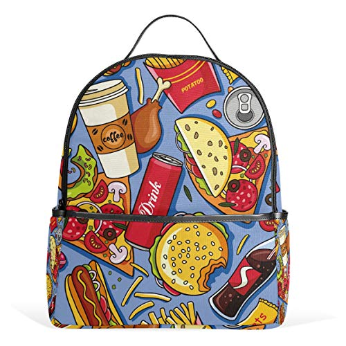 Hamburger Pommes Cola Kaffee-Schulrucksack, Canvas, große Kapazität, lässiger Reise-Tagesrucksack für Kinder, Mädchen, Jungen, Kinder, Studenten, 3-9 Jahre alt