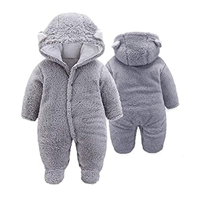 XMWEALTHY Unisex Baby Cloth Winter Coats Cute Newborn Infant Jumpsuit Snowsuit Bodysuits Grey S from XMWEALTHY