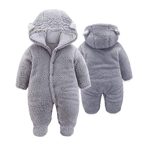 XMWEALTHY Unisex Baby Cloth Winter Coats Cute Newborn Infant Jumpsuit Snowsuit Bodysuits Grey XL