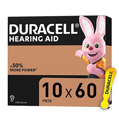 Duracell 10 - Batterie per Apparecchi Acustici con Easy Tab, Giallo, 60 Batterie