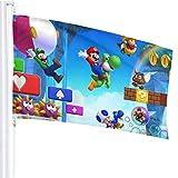 BHGYT Super Mario Spielflagge 3x5 FtDecorative Outdoors Anti-Uv-Verblassen in Innenräumen Flaggen Saisonale und Holiday Yard Flag Banner Polyester 3x5 Fuß
