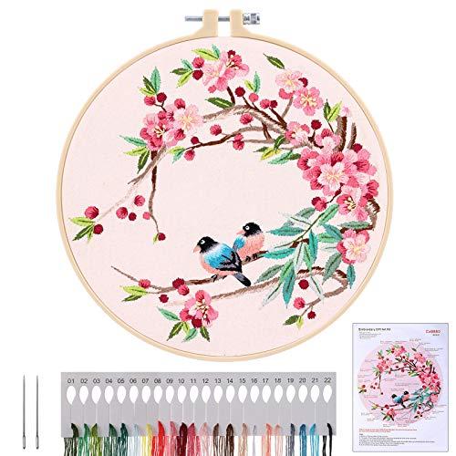 MWOOT Kit de Démarrage de Broderie, DIY Point de Croix Broderie Starter kit,Embroidery Starter Kit pour Adultes Débutant (Oiseaux et Fleurs)