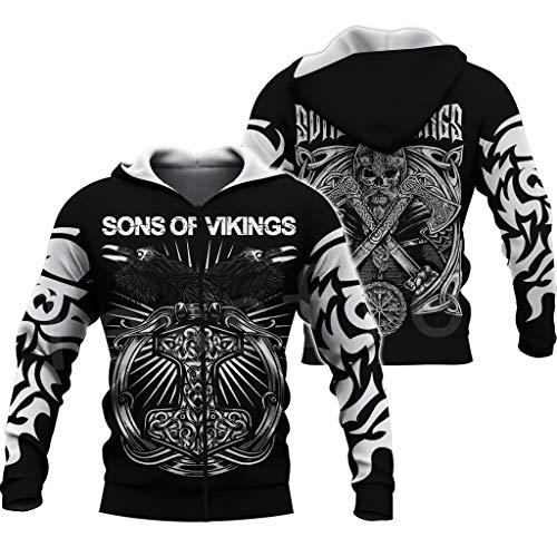 Fandao Unisex Viking Tattoo Hoodie, Mjolnir Symbol-Odin Crow 3D-Druck, Harajuku Streetwear Für Herren Und Damen, Sweatshirt, Pullover, Kapuzen Jacke, Sportbekleidung,Zip2,4XL