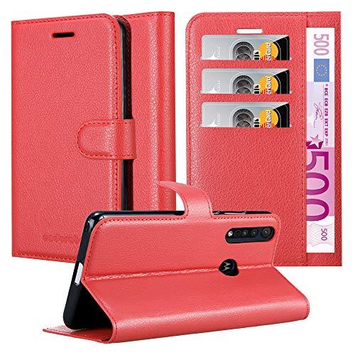 Cadorabo Hülle für Motorola ONE Macro in Karmin ROT - Handyhülle mit Magnetverschluss, Standfunktion & Kartenfach - Hülle Cover Schutzhülle Etui Tasche Book Klapp Style