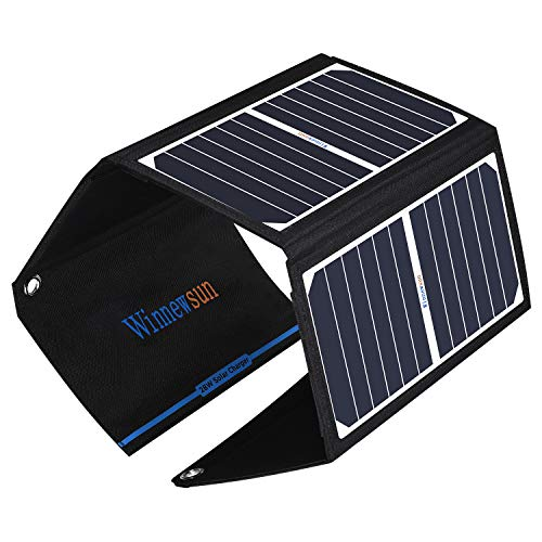28W Solar Charger Foldable Waterproof Solar Battery Charger with SunPower Solar Panel for Cell Phones