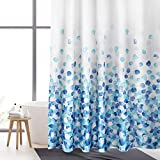 WELTRXE Schwerer Stoff-Duschvorhang mit 12 Haken, Polyester, maschinenwaschbar, wasserdicht, Badezimmer-Duschvorhänge für Duschen, Badewannen, 183 x 183 cm, blaue Blasen