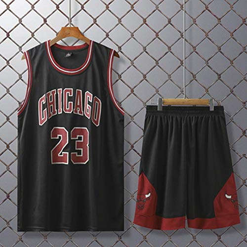 Basketball-Trikots Set Für Kinder - Chicago Bulls Michael Jordan #23 Basketball-Shirt Weste Top Sommershorts Für Jungen Und Mädchen, Atmungsaktiv Und Schnell Trocknend,Schwarz,2XL