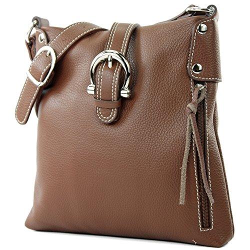 modamoda de -T04 - ital Umhängetasche Schultertasche aus Leder, Farbe:Braun