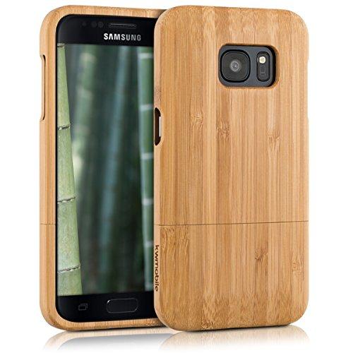 kwmobile Funda para Samsung Galaxy S7 - Carcasa Protectora de bambú para móvil - Case Duro en marrón Claro