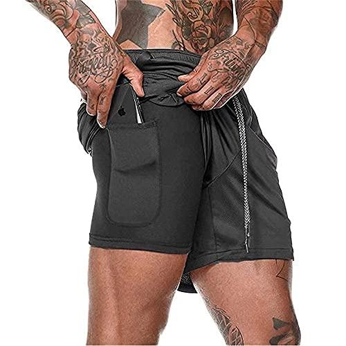 XDSP Pantalón Corto para Hombre,Pantalones Cortos Deportivos para Correr 2 en 1 con Compresión Interna y Bolsillo para Hombres (Black, M, m)