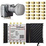 Fuba PremiumX PXMS Multischalter 5/8 Multiswitch Netzteil Quattro LNB und 24x F-Stecker für 8 Teilnehmer fähig 4K 8K