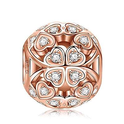 "NinaQueen ""Lucky Clover"" 925 Sterling Silver Openwork Heart Shape Design Charms"