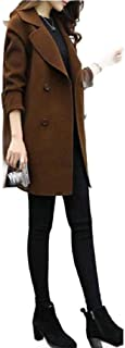 neveraway Womens Fall Winter Trench Double Breasted Point Collar Pea Coat