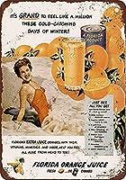 フロリダオレンジジュース メタルポスター壁画ショップ看板ショップ看板表示板金属板ブリキ看板情報防水装飾レストラン日本食料品店カフェ旅行用品誕生日新年クリスマスパーティーギフト