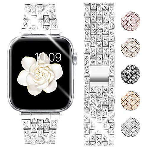 Goton Bling Band Compatible for Apple Watch 42mm 44mm 41mm 45mm, Women Diamond Crystal Luxury Stainless Metal Replacement Strap for iWatch Series 7 6 5 4 3 2 1