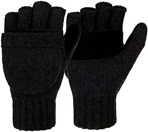Korlon Winter Wool Knitted Convertible Fingerless Gloves with Mitten Cover Black One Size