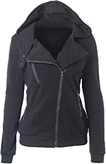WUFAN Womens Hoodie Thicken blique Zipper with Pocket Fleece Jacket