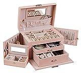 Simwa Cajas de joyería Caja de joyería for Mujeres Adolescentes con Caja de joyería pequeña 3 Capas con Bloqueo y Espejo Hacen Que Sus Joyas Sea fácil de categorizar. Caja de Almacenamiento de Joyas