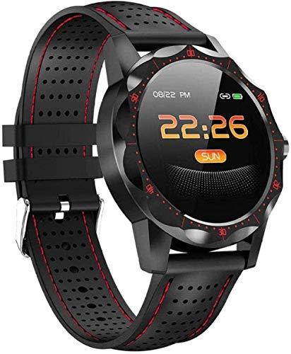 Reloj Inteligente Hombres IP68 Impermeable Actividad Rastreador Fitness Tracker Monitor de Ritmo Cardíaco Monitor de Sueño para Android Iphone IOS-Rojo
