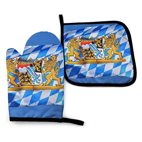 Alysai Bavaria Bavaria Flag Oven Mitts and Potholders BBQ Gloves-Oven Mitts and Pot Holders with Waterproof Polyester Cooking Gloves for Cooking Baking Grilling