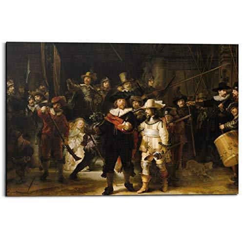 Schilderij Deco Panel De Nachtwacht Rembrandt van Rijn - Oude Meester - Rijksmuseum - 90 x 60 cm