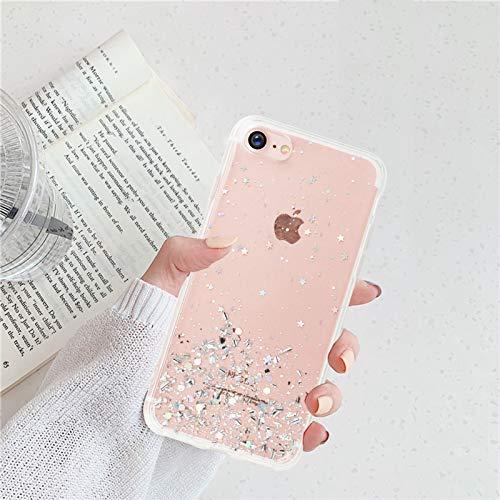 Nupcknn Funda Brillantina para iPhone 7/iPhone 8/iPhone SE 2020, Ultra Fina Silicona Transparente TPU Funda y Protector Anti-arañazos Estrella Carcasa para iPhone 7/8/iPhone SE 2020(Transparente)
