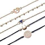 VONRU Beaded Bracelets for Women - Adjustable Charm Pendent Stack Bracelets for Women Girl Friendship Gift Rose Quartz Bracelet Links with Pearl Gold Plated (Map & Moon Bracelet)