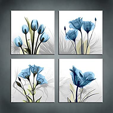 Moyedecor Art - 4 Panel Elegant Tulip Flower Canvas Print Wall Art Painting For Living Room Decor And Modern Home Decorations (Four 12X12in, Blue flower prints framed)