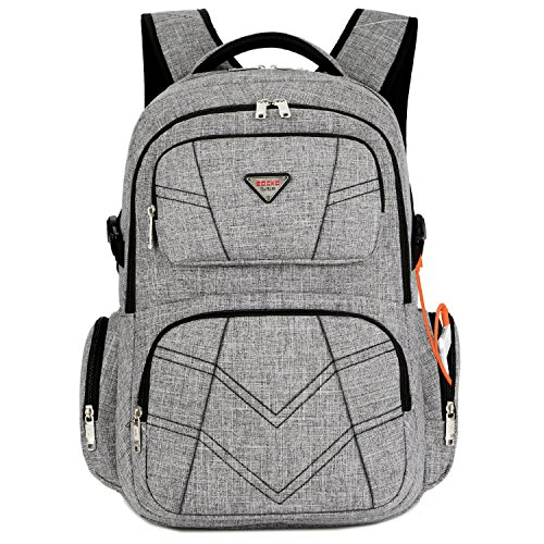 SOCKO 17.3 Inch Shockproof Laptop Backpack with USB Port/Roomy Lightweight Water Resistant Business Travel Knapsack Bag/Multi-functional Casual Daypack Bookbag School Bag College Back Pack,Grey