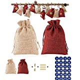 PING 24 unids/set Navidad serie calendario de Adviento relleno caramelo bolsa de regalo con pegatinas clips