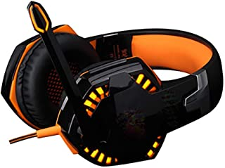 Gaming Headset for PS4, Beexcellent Comfort Noise Reduction Crystal Clarity 3.5mm LED Professional Headphone with Mic for Xbox One PC Laptop Tablet Mac Smart Phone-orange MXY (Color : Orange)
