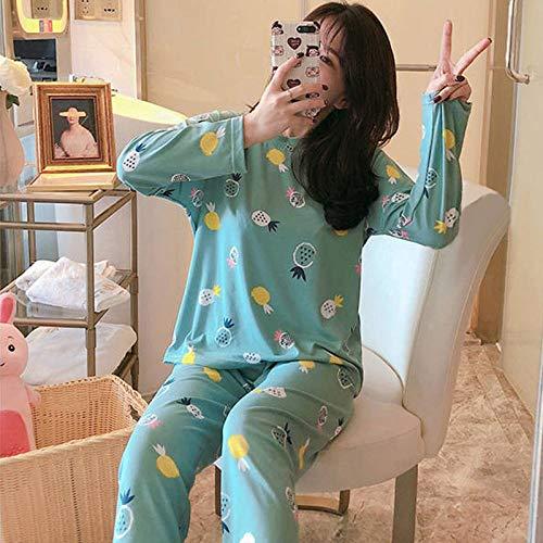 Pijama Felpa Traje Larga Holgado Suave Caliente Pijamas Traje De Mujer Elefante De Dibujos Animados Ropa De Casa Suelta Informal para Mujer Pijama De Algodón Verde Estampado, XL