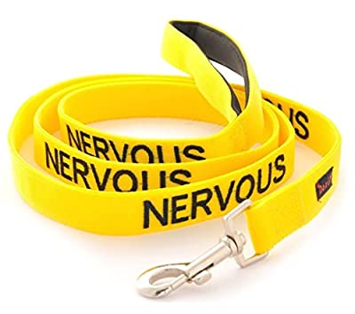 NERVOUS (Give Me Space) Yellow Colour Coded 60cm 1.2m 1.8m Neoprene Padded Handle Dog Leads PREVENTS Accidents By Warning Others Of Your Dog In Advance (1.2m)