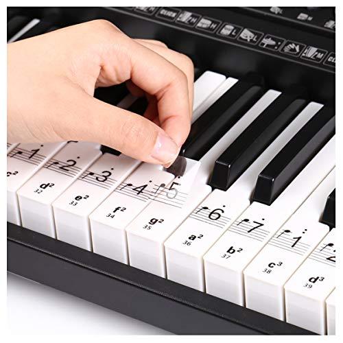 Piano Sleutel Stickers Duidelijke Witte Sleutels Muziek Opmerking Stickers Verwijderbare Piano Toetsenbord Sticker Kinderen Beginner Piano Sleutelkaart Herkennen Supply Volledige Set voor 32/49/54/61/88 Sleutel