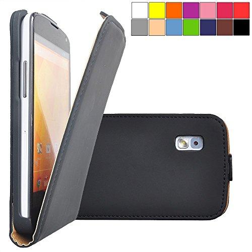 COOVY® Cover für LG LG Google Nexus 4 E960 Slim Flip Case Tasche Etui inklusive gratis Bildschirmschutzfolie   Farbe schwarz