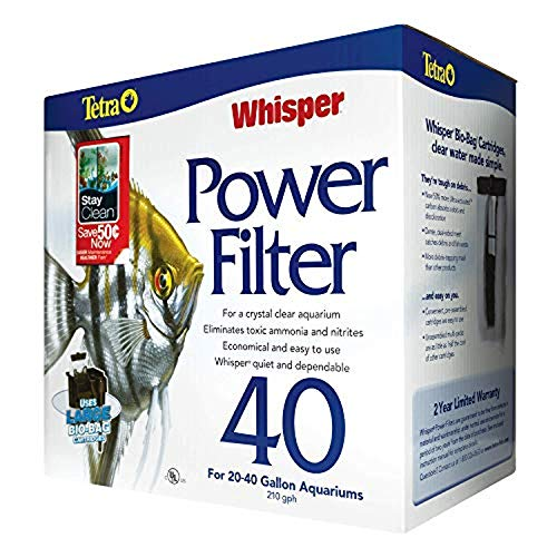 Tetra Whisper Power Filter 40 Gallons, Quiet 3-Stage aquarium Filtration