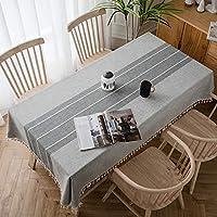 テーブルクロス 北欧 おしゃれ 綿麻生地 ストライプ フリンジ 長方形 140×220cm テーブルカバー 防塵 耐熱 自宅用 店舗用 テーブルマット インテリア用品 贈り物
