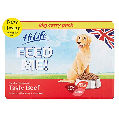 HiLife FEED ME! - Complete Dry Dog Food - Tasty Beef Cheese Vegetables - Soft, Moist & Meaty, 6kg