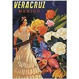 Mural Vintage Veracruz México decoración de viaje cartel de impresión de arte mexicano decoraciones para el hogar para sala de estar-24X32 en sin marco