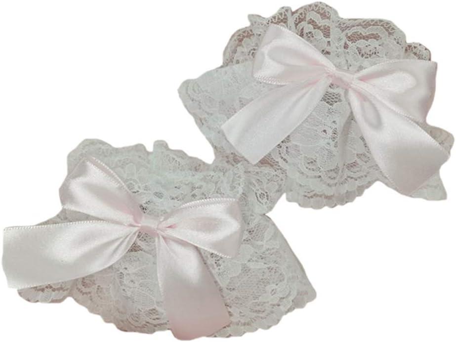 KAIDU Gothic Lolita Wrist Cuffs Satin Bow Ruffles Lace Bracelet Wristband Hand Sleeves