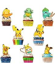 HONGECB Pokemon tårta topp, Pikachu figurer party tårtdekoration, poke födelsedagstårta dekoration, mini Pikachu figurines set, barn födelsedag, för födelsedagsfest, figurfans, 8 stycken