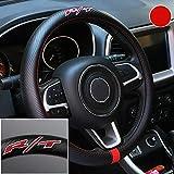 Gooogo Black Carbon FIber Luxury Leather SRT R/T Car Steering Wheel Cover Auto Anti-slip Protector 15'' For Dodge RAM 1500 Charger Challenger