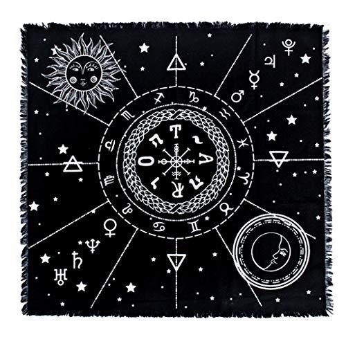 Aufbewahrungstasche Tarot-Tischdecke, Baumwolle Tarot-Tuch 12 Sternbilder Astrologie Altar Tuch Tarot-Matte 60 x 60 cm